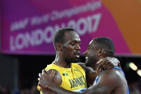 Gatlin rains on Bolt's farewell parade