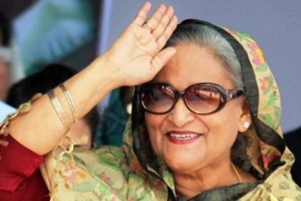 PM Hasina arrives at Suhrawardy Udyan rally