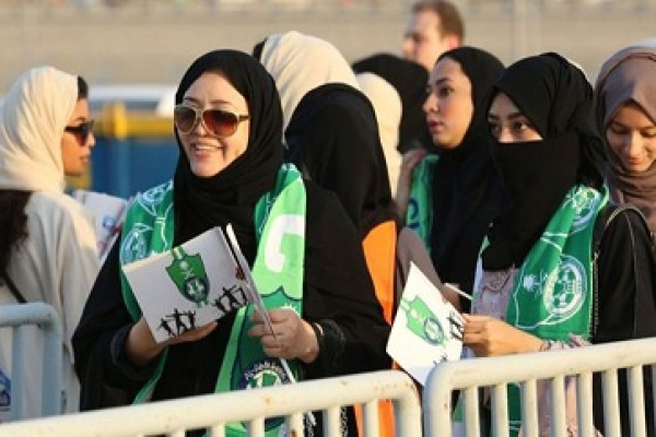 Saudi allows women at football game for first time