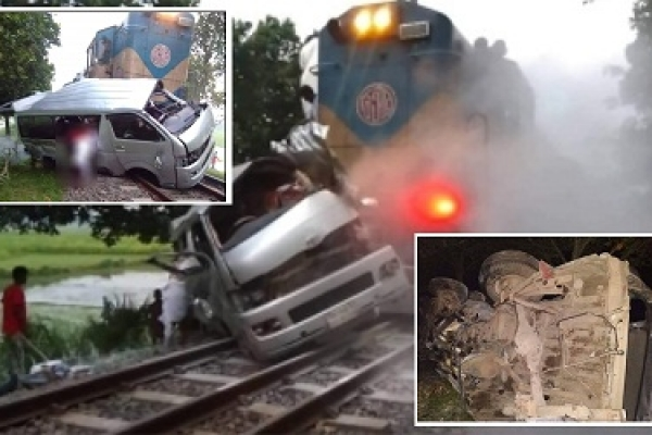 9 killed as train hits microbus in Ullapara