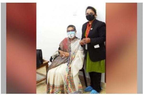 Sheikh Rehana receives Covid-19 vaccine