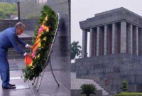 he mausoleum of Ho Chi Minh at 4.50 pm (local time).